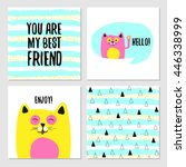 set of cute greeting cards for... | Shutterstock .eps vector #446338999