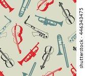 musical instruments hand drawn... | Shutterstock .eps vector #446343475