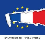 flag of the france under ripped ...   Shutterstock .eps vector #446349859