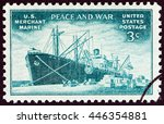 usa   circa 1946  a stamp... | Shutterstock . vector #446354881