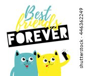 best friend forever cats ... | Shutterstock .eps vector #446362249