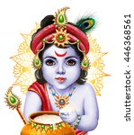 little krishna with a pot of... | Shutterstock . vector #446368561
