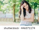 horizontal view of depressed... | Shutterstock . vector #446371174