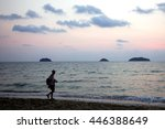 silhouette people warking on... | Shutterstock . vector #446388649