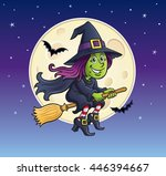 girl witch riding broom with... | Shutterstock .eps vector #446394667