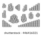 set of stacks of coins | Shutterstock .eps vector #446416321