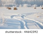 Winter Landscape  Hay Bales...