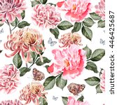 watercolor pattern with... | Shutterstock . vector #446425687