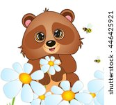 bear and a bee vector... | Shutterstock .eps vector #446425921
