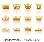 set of silhouettes of stylized... | Shutterstock .eps vector #446428579
