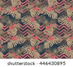 print with decorative tropical... | Shutterstock .eps vector #446430895