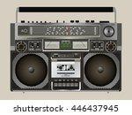 boombox cassette stereo...   Shutterstock .eps vector #446437945