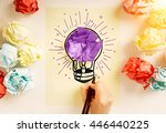 creative idea concept with hand ... | Shutterstock . vector #446440225
