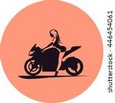 girl on motorcycle | Shutterstock .eps vector #446454061