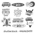 summer surfing day graphic... | Shutterstock . vector #446463499