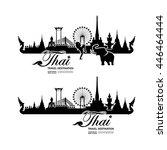 thailand travel destination...   Shutterstock .eps vector #446464444