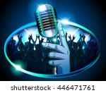 hand holding retro mic ... | Shutterstock .eps vector #446471761