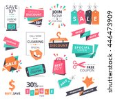 set of flat design style badges ... | Shutterstock .eps vector #446473909