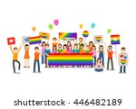 gay parade. people with... | Shutterstock .eps vector #446482189