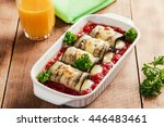 baked eggplant with tomato... | Shutterstock . vector #446483461