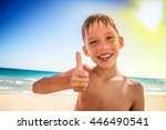 little cude kid with thumb up... | Shutterstock . vector #446490541