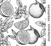 oranges  and flowers. vector... | Shutterstock .eps vector #446494144