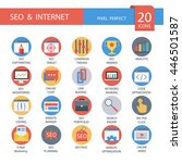 seo and internet in flat icons  ... | Shutterstock .eps vector #446501587