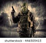 portrait of a dangerous armed... | Shutterstock . vector #446505415