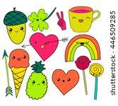 cute hand drawn neon doodle... | Shutterstock .eps vector #446509285