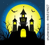halloween night with silhouette ... | Shutterstock .eps vector #446519827