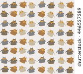 seamless pattern with cute owls | Shutterstock .eps vector #446537389