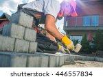 building brick garden path.... | Shutterstock . vector #446557834