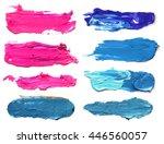 Set of abstract acrylic brush strokes.
