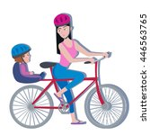 woman and toddler on a bike ... | Shutterstock .eps vector #446563765