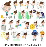a set mother and baby with... | Shutterstock .eps vector #446566864