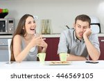 bored husband hearing his wife... | Shutterstock . vector #446569105