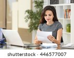 portrait of a businesswoman... | Shutterstock . vector #446577007