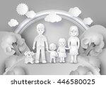 happy family having fun .black... | Shutterstock .eps vector #446580025