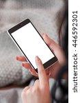 empty screen of smartphone in... | Shutterstock . vector #446592301
