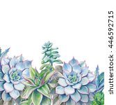 watercolor succulents... | Shutterstock . vector #446592715