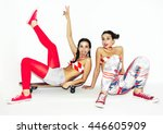 two beautiful hipster crazy... | Shutterstock . vector #446605909