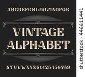 vintage alphabet vector font.... | Shutterstock .eps vector #446611441