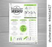 vintage vegetarian menu design. ... | Shutterstock .eps vector #446616427
