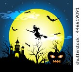 halloween night with silhouette ... | Shutterstock .eps vector #446619091
