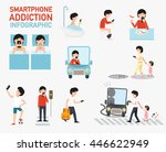 smartphone addiction... | Shutterstock .eps vector #446622949