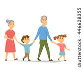 grandparents with grandchildren ... | Shutterstock .eps vector #446628355
