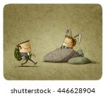 Stock photo metaphor of the tortoise and the hare in business 446628904