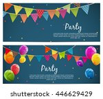 party background with flags... | Shutterstock .eps vector #446629429