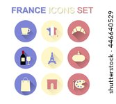 France Icons Set With Long...