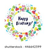 happy birthday funny card for...   Shutterstock .eps vector #446642599